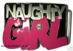 NAUGHTY GIRL Belt Buckle + display stand